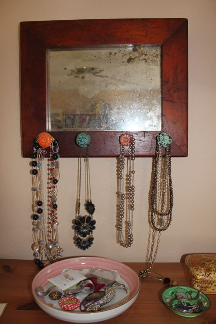 DIY Necklace Display - Mirror Plus Drawer Knobs